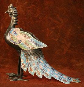 Edo Period Bronze Cloisonne Phoenix Incense Burner