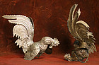 Rare Meiji Period Japanese Bronze Fighting Cocks
