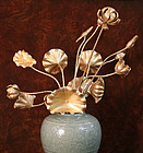 Meiji Period Gold Lacquered Buddhist Temple Flowers