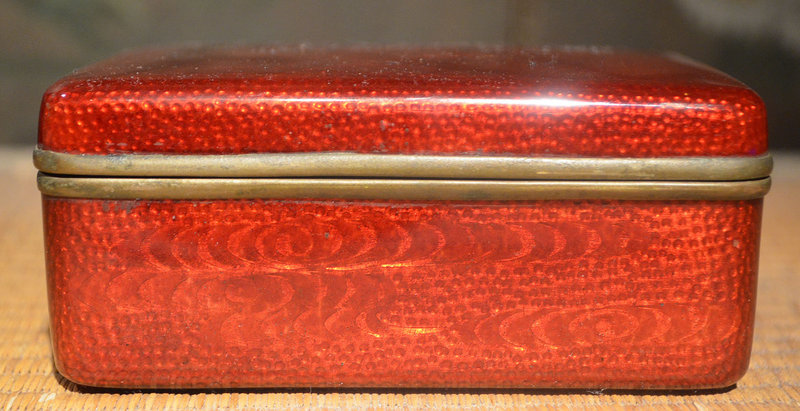 Red Cloisonne Box with a Design of Fans and Waves