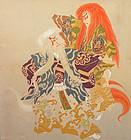 Painted Silk Fukusa Panel of the Kabuki Lion Dance