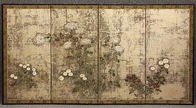 Fine Japanese Edo Period Silver Rimpa Flower Screen