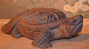 Japanese Carved Boxwood Mino-Kame Turtle