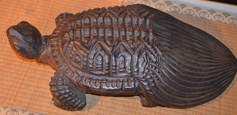 Japanese Carved Boxwood Mino-Kame Turtle