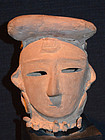 Rare Japanese Haniwa Clay Bust of a Young Wealthy Woman