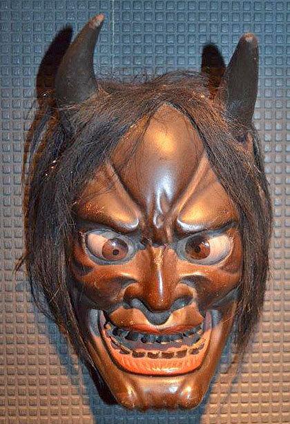 Rare Edo Period Lacquered Wood Hannya Iki Mask