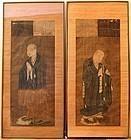 Pair of Antique Japanese Monk Portraits