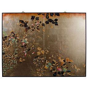 Fantastic Floral Japanese Screen on Silver Leaf