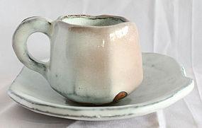Kaneta Masanao Hagi Ware Coffee Cup and Saucer with Signed Box