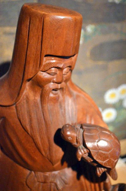 Fine Meiji Period Wood Okimono of Jurojin, the God of Longevity