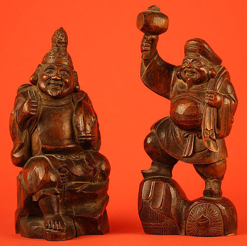 Pair of Japanese Meiji Period Wood Kitchen Gods, Daikoku and Ebisu