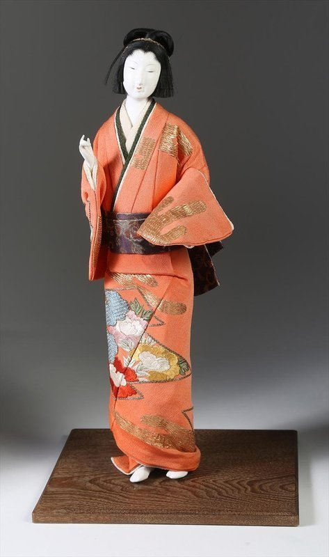 Japanese Standing Female Isho Ningyo of a Bijin, Meiji Period