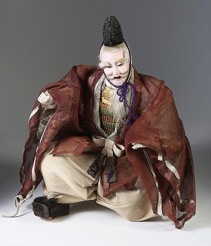 Japanese Musha Ningyo of Old Minister Takenouchi, Meiji Period