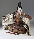 Japanese Seated Musha Ningyo, Samurai of Minamoto no Yoshitsune