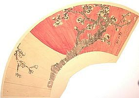 Japanese Apricot and Rising Sun Fan Painting by Shuseki