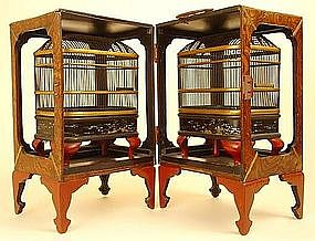 Exquisite Pair of Museum Quality Japanese Cricket Cages