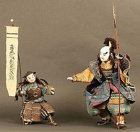 Rare and Spectacular Pair of 18th Century Samurai Dolls
