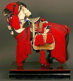 Spectacularly Adorned Fine Japanese Battle Horse Doll