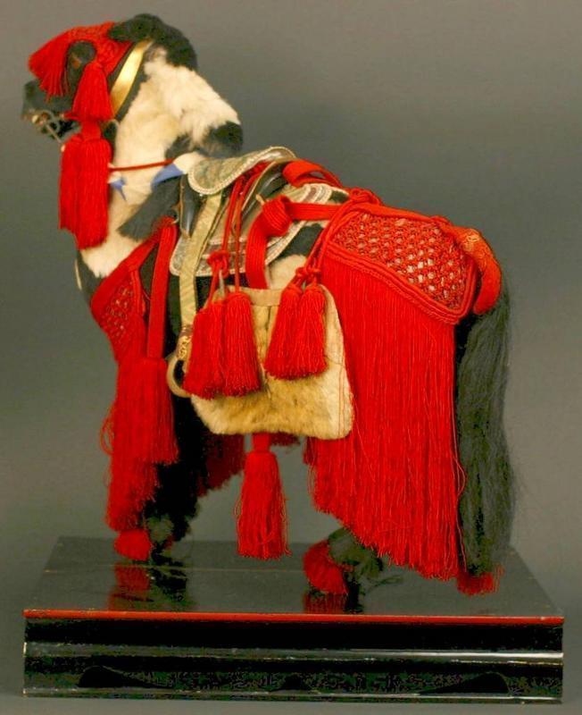 Spectacularly Adorned Fine Japanese Battle Horse Doll