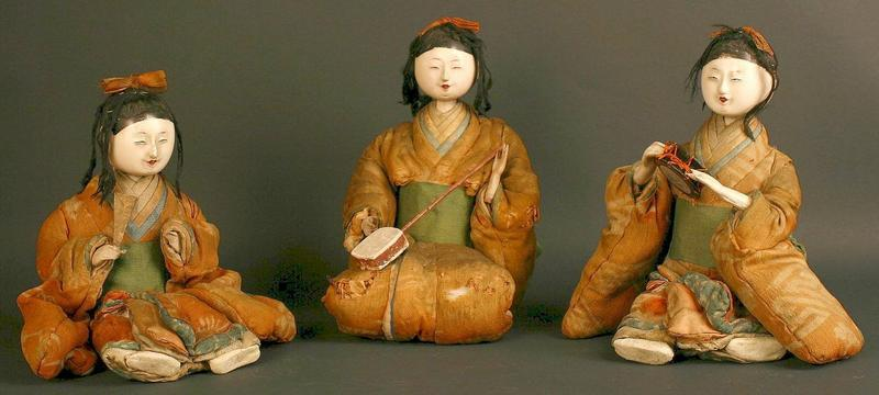 Extremely Rare and Very Old Set of 3 Female Musicians