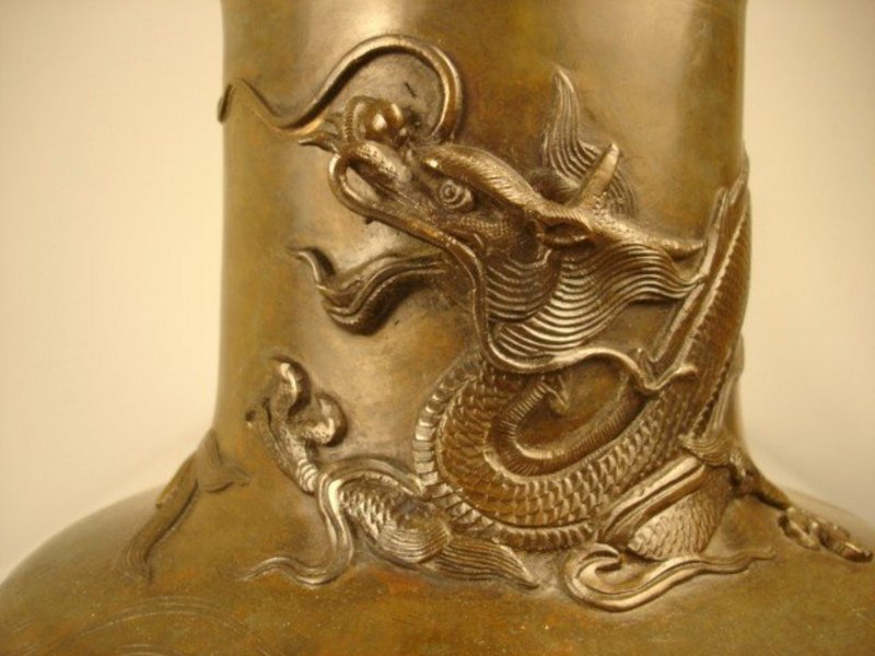 Exquisite Antique Japanese Bronze Dragon Vessel