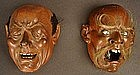 Lively, Striking Pair of 19th Cty Japanese Living Masks