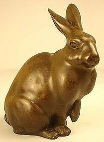 19th Century Japanese Bronze Sculpture of a Rabbit