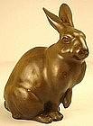 19th Century Japanese Bronze Sculpture of a Rabbit