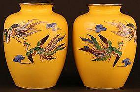 Beautiful Pair of Japanese Cloisonne Phoenix Vases