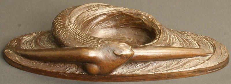 Antique Japanese Bronze Sculpture, Mermaid in Whirlpool