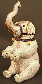 Rare Japanese Cloisonne Sculpture, Circus Elephant Jar