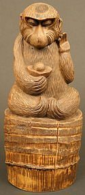 Japanese Antique Sculpture, Okimono of a Snow Monkey
