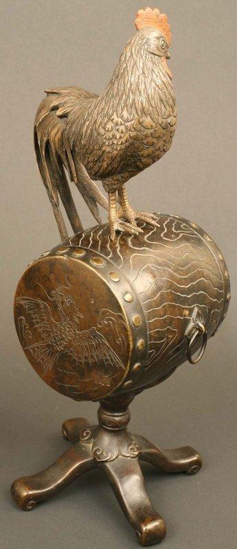 Rooster on Drum Fine Bronze Sculpture, 19th Century