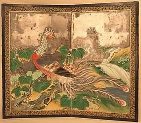Fine 18th Cty. Silver Leaf Japanese Screen of a Phoenix