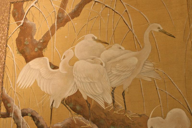 Stunning, Very Fine Meiji Period Snow Cranes Screen