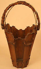 Unusual, Striking Antique Ikebana Flower Basket