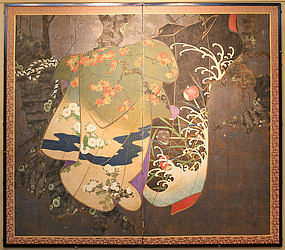 Very Fine 18th Century Screen of 4 Seasons and Kimonos