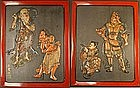 Very Fine Edo Period Japanese Carved Lacquered Panels