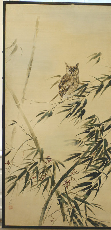 Japanese Antique Screen, Owl in Bamboo Forest by Kouro