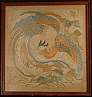 Framed 19th Century Edo Period Embroidery of a Phoenix