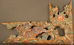 Beautiful 18th Century Shishi and Peony Wall Carving