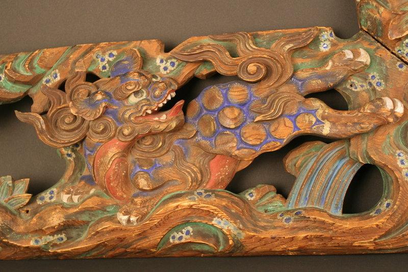 Beautiful 18th Century Shishi and Peony Wall Carving