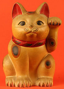 Meiji Period Maneki Neko, Japanese Beckoning Cat