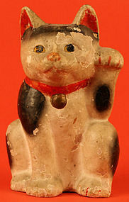 Early Meiji Maneki Neko, Japanese Beckoning Cat