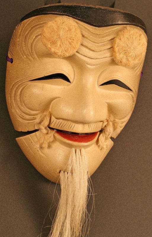 Okina Mask w/ Case by Meiji Period Artist, Ko-ikiu III