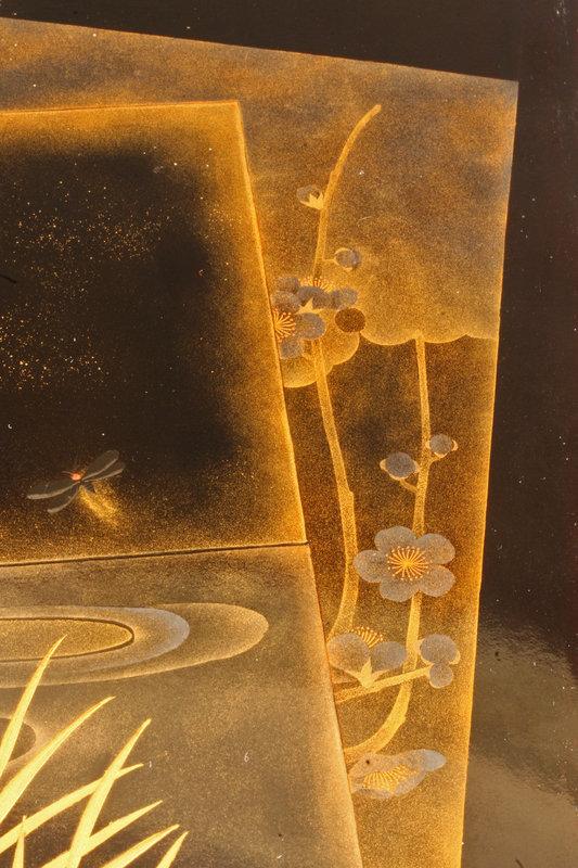 Beautiful Meiji Period  Fireflies Black Lacquered Box
