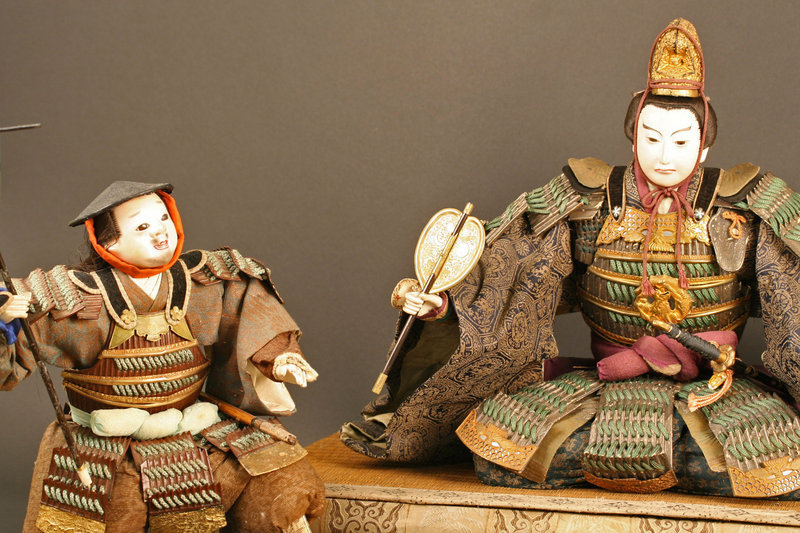 Late Edo Period Three Piece Musha Ningyo Samurai Set