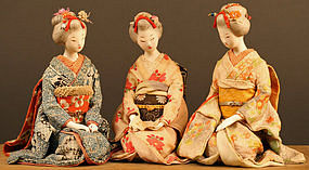 Unique Set of Three Japanese Dolls, Beautiful Girls