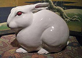 White Rabbit Ceramic Sculpture by Takegawa Chikusai