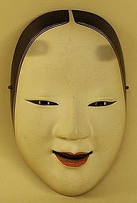 Antique Japanese Mask of Okame, Noh Theater Mask